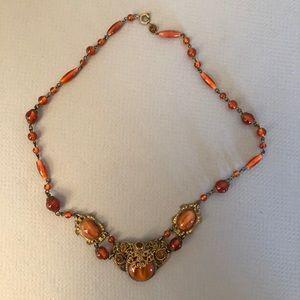 Art deco 1930s Czech glass amber necklace